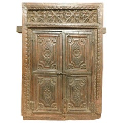 Antique Wall Cabinet, Placard, in Dark Wood Very Carved by Hand, India, 1800