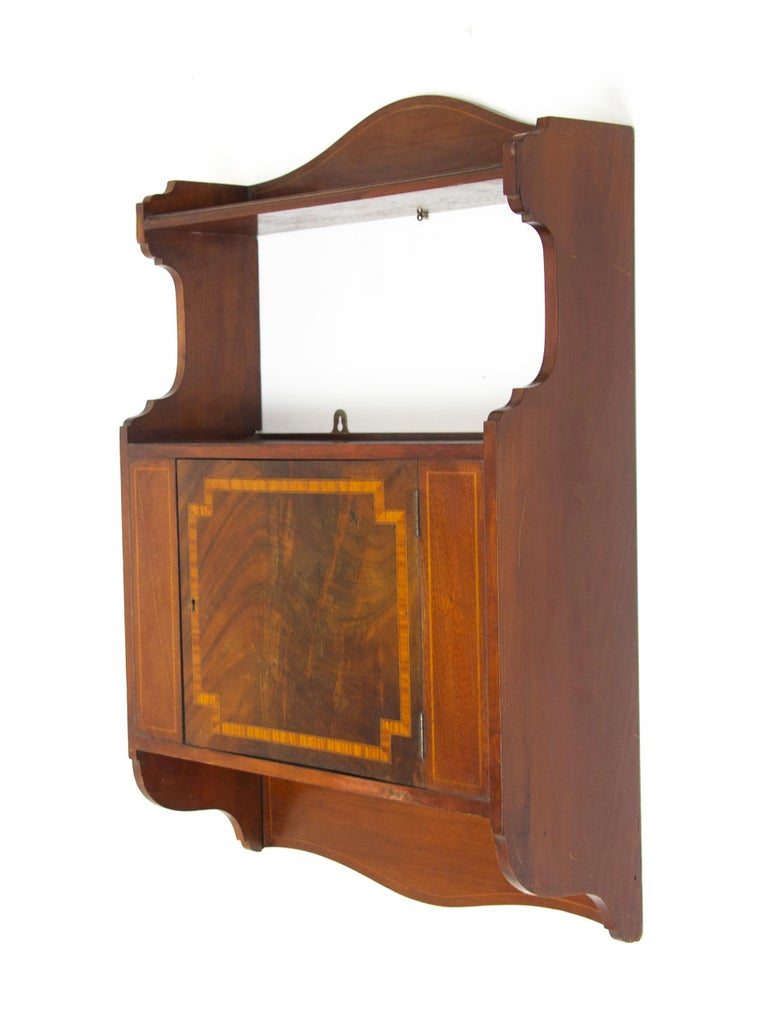 Antique wall cabinet, Scottish Iinlaid walnut hanging wall cabinet, antique furniture, Scotland 1910, B1369