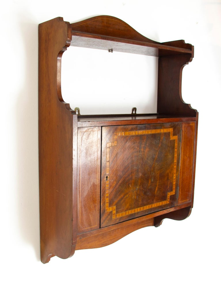 Hand-Crafted Antique Wall Cabinet, Scottish Walnut Hanging Wall Cabinet, Scotland 1910, B1369 For Sale