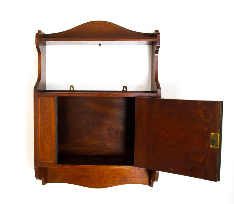 Antique Wall Cabinet, Scottish Walnut Hanging Wall Cabinet, Scotland 1910, B1369 In Good Condition For Sale In Vancouver, BC