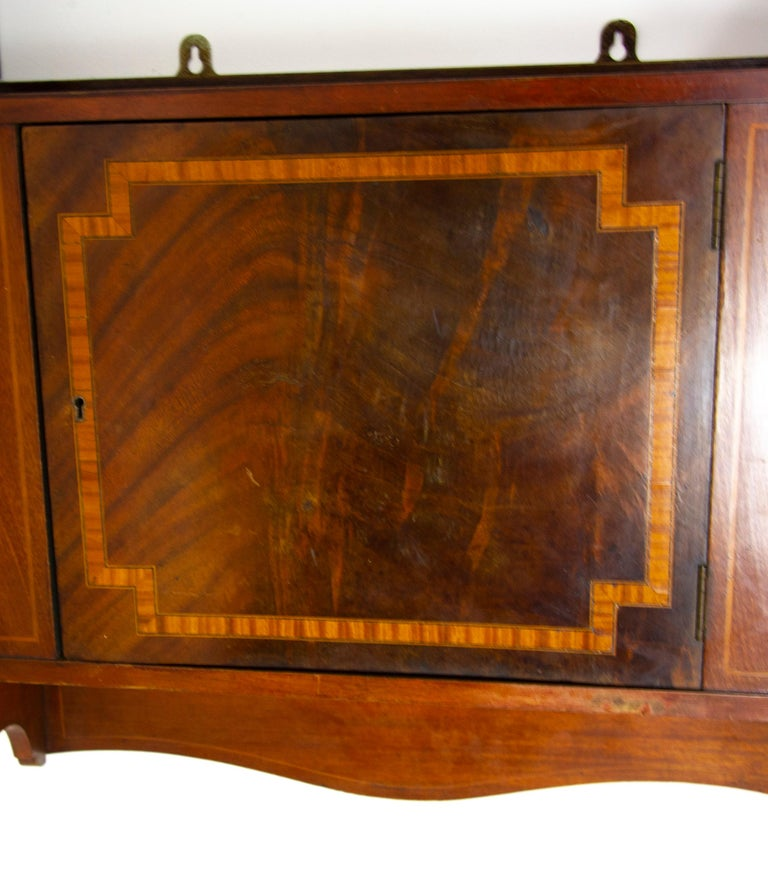 Antique Wall Cabinet, Scottish Walnut Hanging Wall Cabinet, Scotland 1910, B1369 For Sale 1