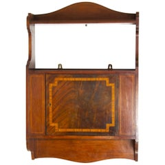 Antique Wall Cabinet, Scottish Walnut Hanging Wall Cabinet, Scotland 1910, B1369