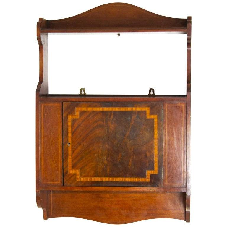 Antique Wall Cabinet, Scottish Walnut Hanging Wall Cabinet, Scotland 1910, B1369 For Sale
