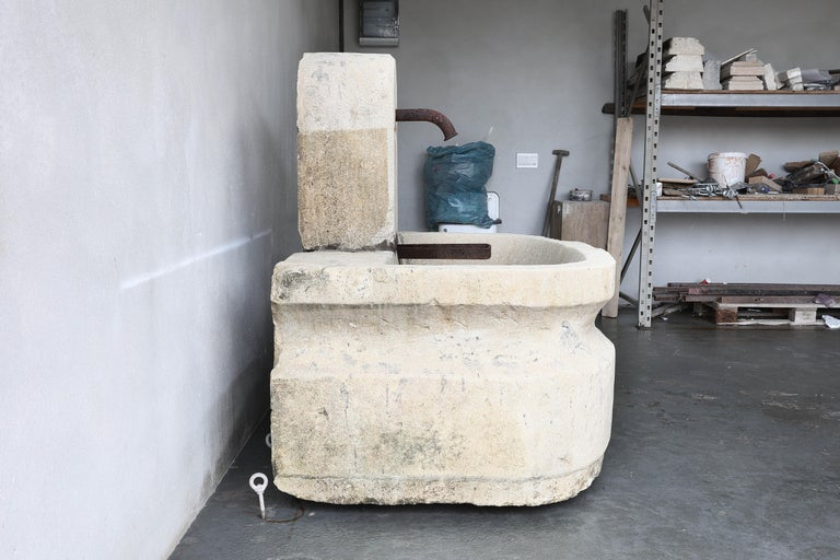 Antique Wall Fountain from the 19th Century of French Limestone 4