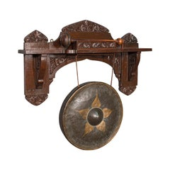 Antique Wall Gong, Indian, Oak, Dinner, Ceremonial Monastery Chime, Circa 1900