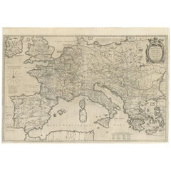 Antique Wall Map of the Empire of Charlemagne by Bertius 'circa 1620'