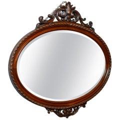 Antique Wall Mirror, Edwardian, Ovular, Carved Walnut, 20th Century, circa 1910
