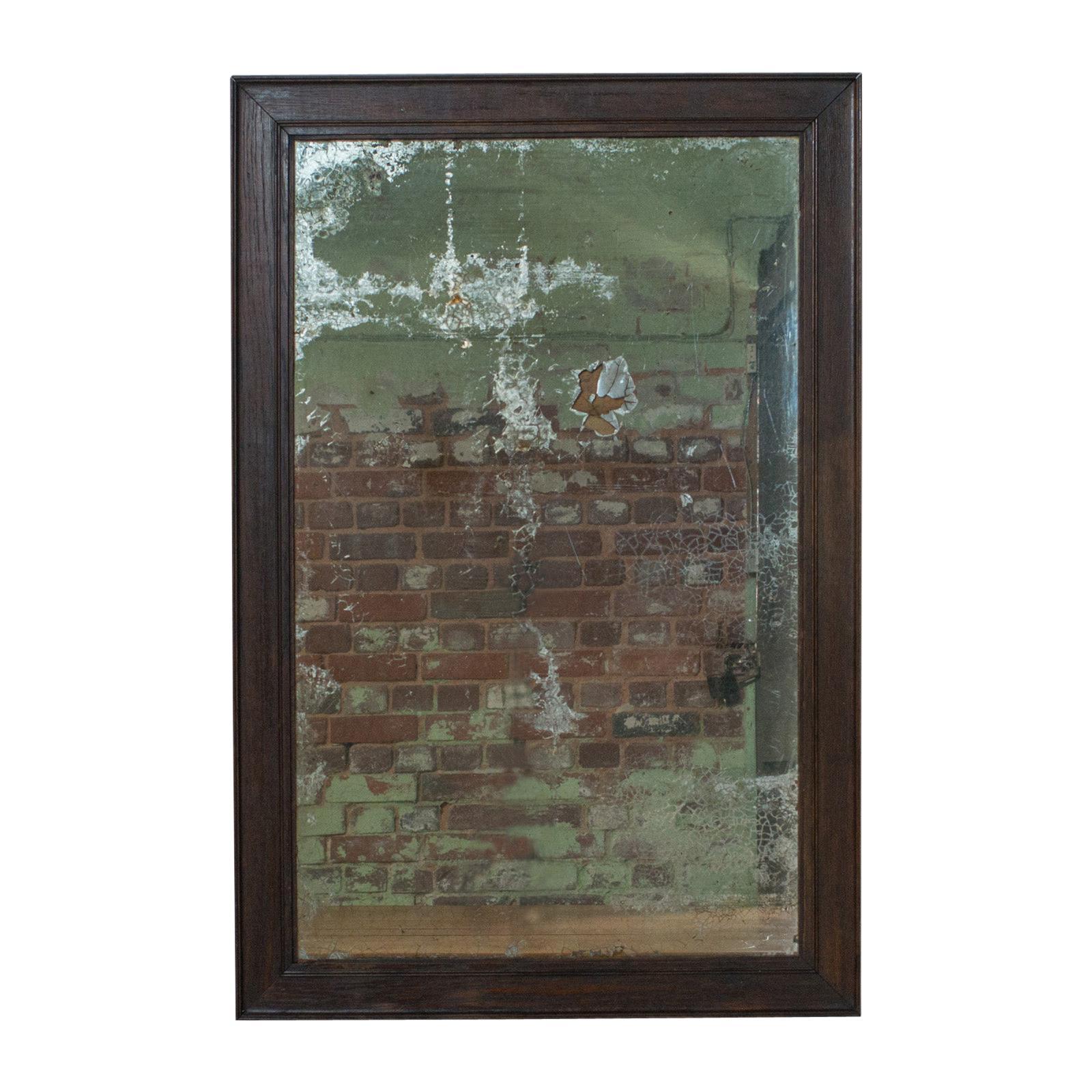 Antique Wall Mirror, English, Victorian, Distressed, Oak, circa 1850