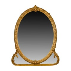 Antique Wall Mirror, English, Victorian, Gilt Gesso, Overmantel, circa 1850
