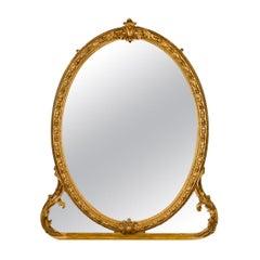 Antique Wall Mirror, English, Victorian, Gilt Gesso, Overmantel, circa 1850