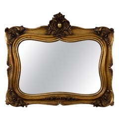 Antique Wall Mirror, Mid-Sized, Italian, Gilt Frame, Vanity, 19th Century
