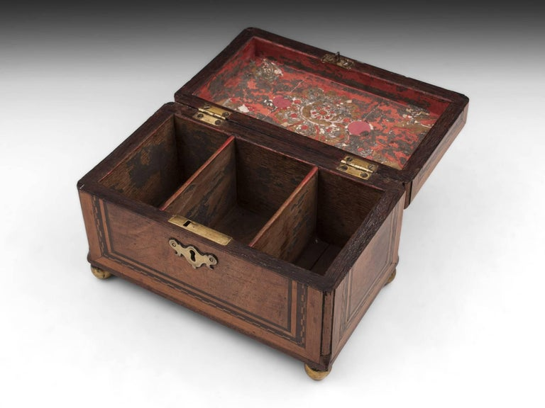 Antique Walnut And Brass Tea Chest Caddy 18th Century For