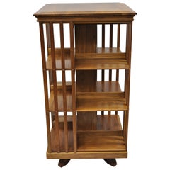 Antique Walnut and Cherry Revolving Swivel Victorian Danner Style Bookcase