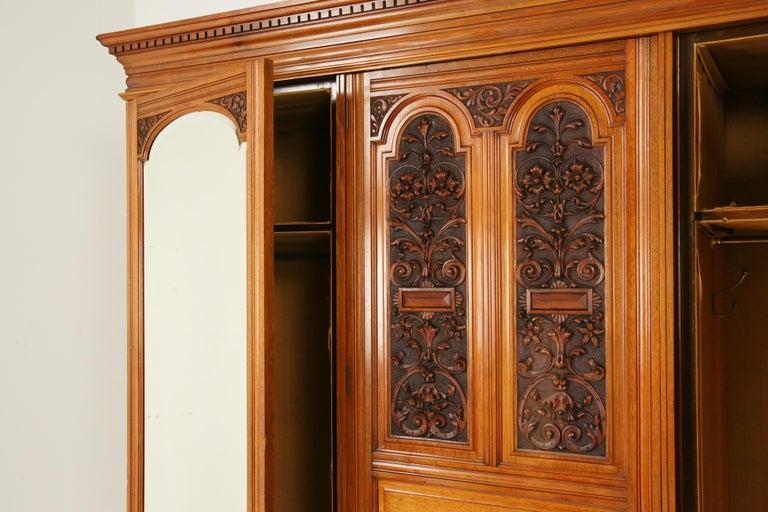 Antique Walnut Armoire, Carved 3-Door Compaction Wardrobe, Scotland, 1880 For Sale 4