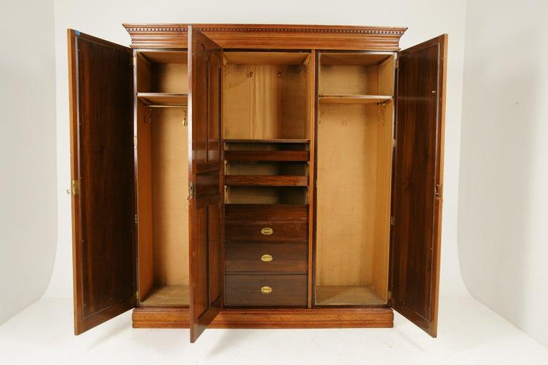 Scottish Antique Walnut Armoire, Carved 3-Door Compaction Wardrobe, Scotland, 1880 For Sale