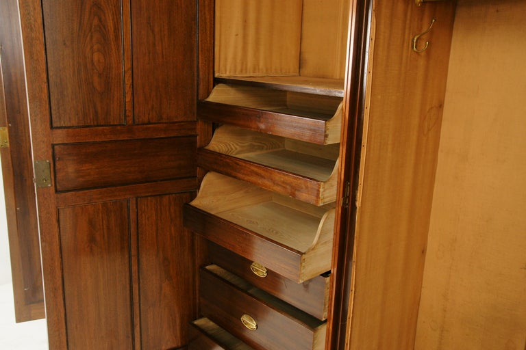 Hand-Crafted Antique Walnut Armoire, Carved 3-Door Compaction Wardrobe, Scotland, 1880 For Sale