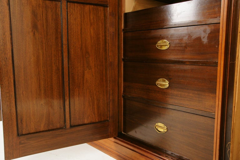 Antique Walnut Armoire, Carved 3-Door Compaction Wardrobe, Scotland, 1880 In Good Condition For Sale In Vancouver, BC