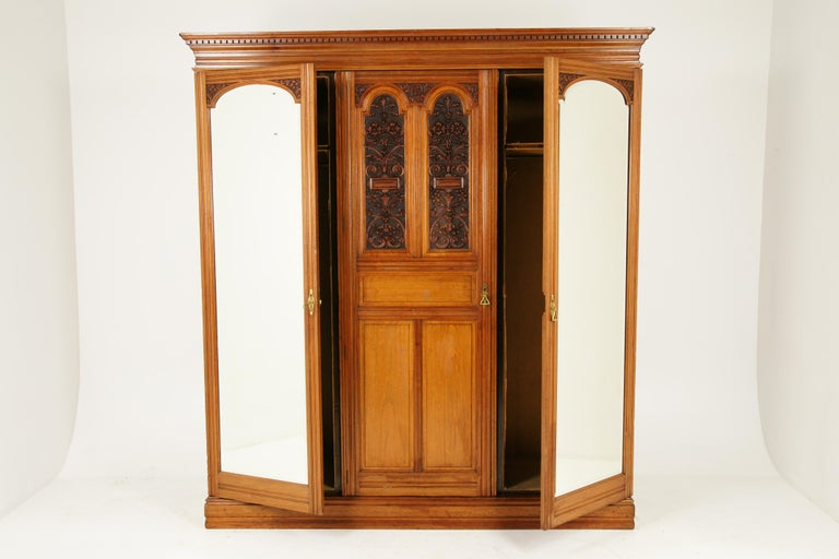 Late 19th Century Antique Walnut Armoire, Carved 3-Door Compaction Wardrobe, Scotland, 1880 For Sale