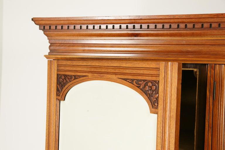 Antique Walnut Armoire, Carved 3-Door Compaction Wardrobe, Scotland, 1880 For Sale 1