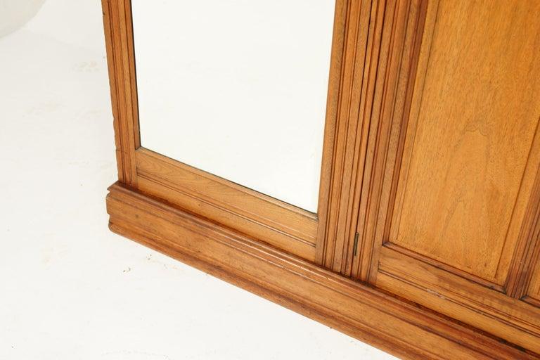 Antique Walnut Armoire, Carved 3-Door Compaction Wardrobe, Scotland, 1880 For Sale 2