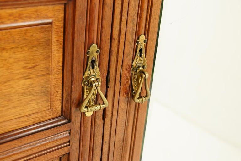 Antique Walnut Armoire, Carved 3-Door Compaction Wardrobe, Scotland, 1880 For Sale 3