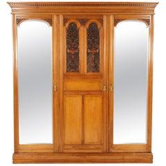 Antique Walnut Armoire, Carved 3-Door Compaction Wardrobe, Scotland, 1880