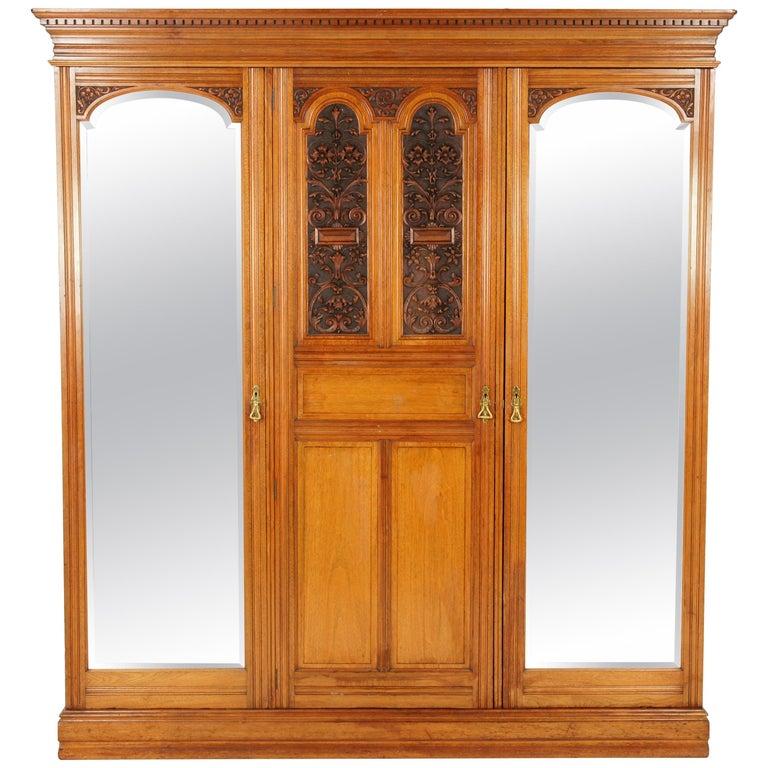 Antique Walnut Armoire, Carved 3-Door Compaction Wardrobe, Scotland, 1880 For Sale