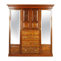Antique Walnut Armoire Carved 3 Door Compaction Wardrobe, Scotland, 1880