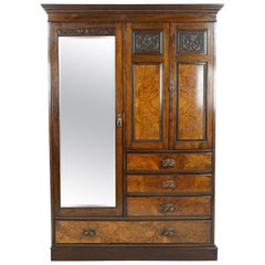 Antique Walnut Armoire, Victorian Compactum Wardrobe, Scotland 1880, B1678
