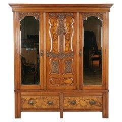 Antique Walnut Armoire, Wardrobe, Triple Door Closet, Scotland 1890, B1613