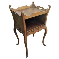 Antique Walnut Bedside Table Louis XV Baroque Style