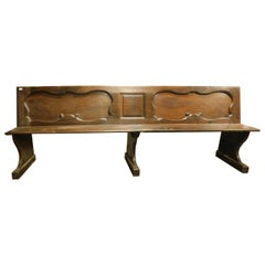 Antique Walnut Bench, Carved Panels, 18th Century, Italy