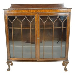 Antique Walnut Bookcase, Bow Front Display Cabinet, Scotland 1920, B1927