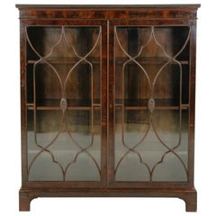 Antique Walnut Bookcase, Display Cabinet, Two Door Bookcase, Scotland, B1408A