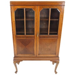 Antique Walnut Bookcase, Edwardian Display Cabinet, Scotland 1910, B2030