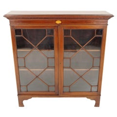 Antique Walnut Bookcase, Edwardian Georgian Style Inlaid 2-Door Bookcase or Disp