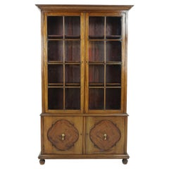 Antique Walnut Bookcase, Tall, 4-Door, by A. Gardner & Son, Scotland 1910, B1861