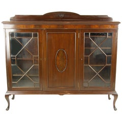 Antique Walnut Bookcase, Three-Door Bookcase, Display Cabinet, 1920