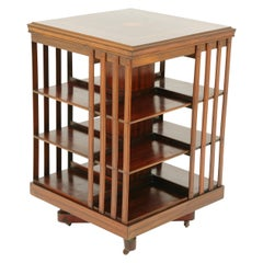 Antique Walnut Bookcase, Three-Tier Revolving Bookshelf, Scotland 1910, B1646