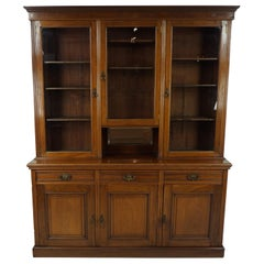 Antique Walnut Bookcase, Victorian Display Cabinet, Scotland 1880, B1741