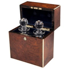 Antique Walnut Brass Army and Navy Decanter Box, 19th Century