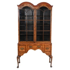 Antique Walnut Cabinet Bookcase Queen Anne Domed