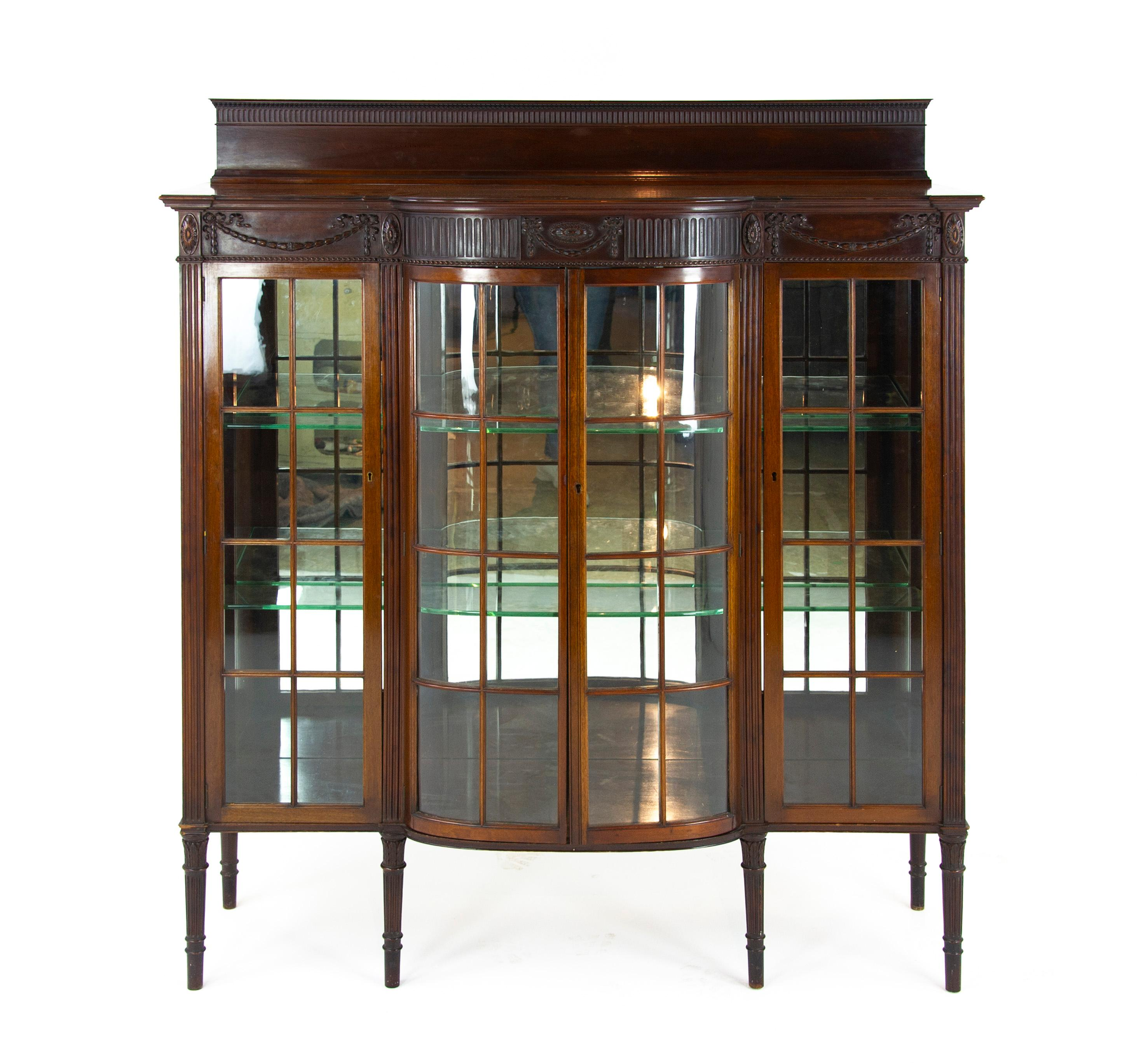 Genial Antique Walnut Cabinet, Breakfront Display Cabinet, Scotland, 1920