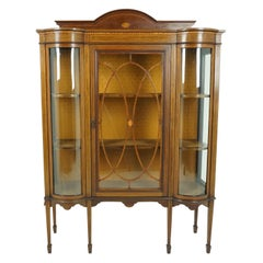 Antique Walnut Cabinet, Edwardian Inlaid Display Vitrine, Scotland 1910, B1931