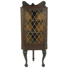 Antique Walnut Cabinet, Heavily Carved Corner Cabinet, Scotland 1880, B1869