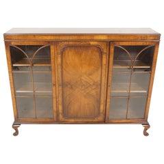 Antique Walnut Cabinet, Three-Door Display Cabinet, Bookshelf, Scotland, 1920
