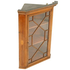 Antique Walnut Cabinet, Victorian Hanging Corner Cabinet, Scotland, 1840