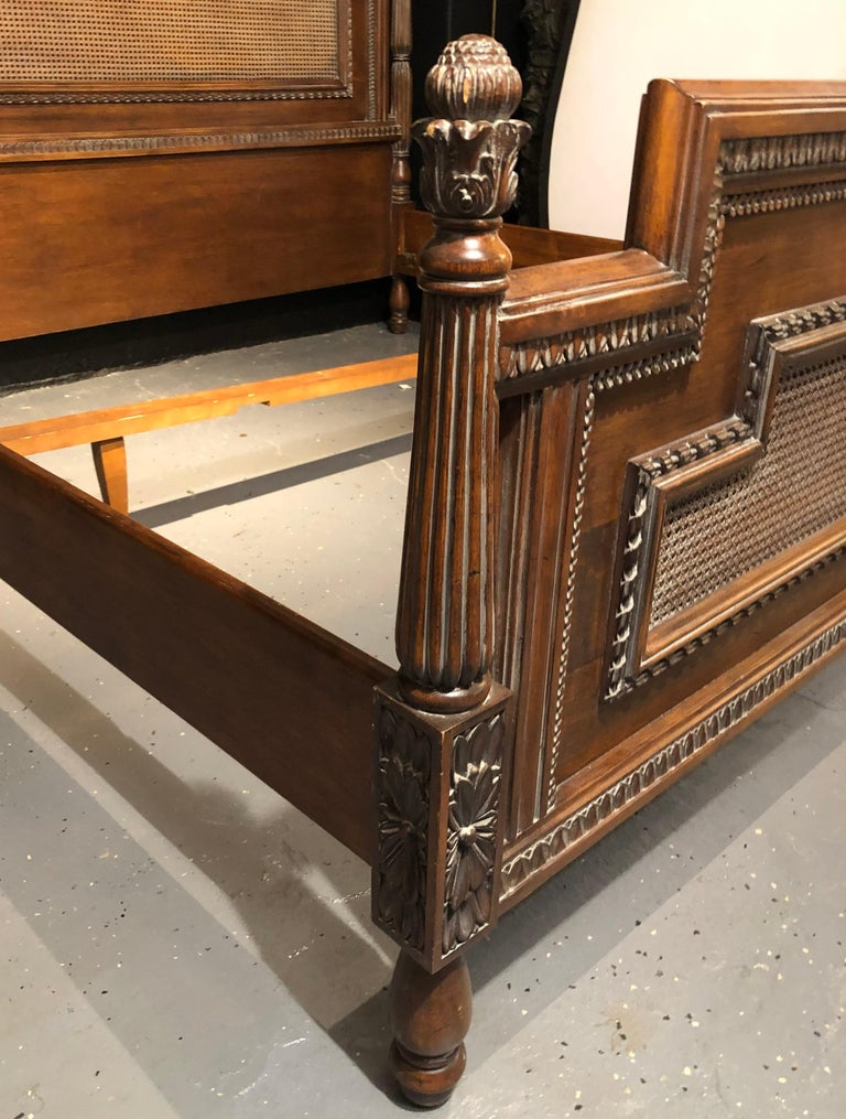 Antique Walnut Carved King Sized Bed, Headboard, Foot-Board and Side-Rails 4