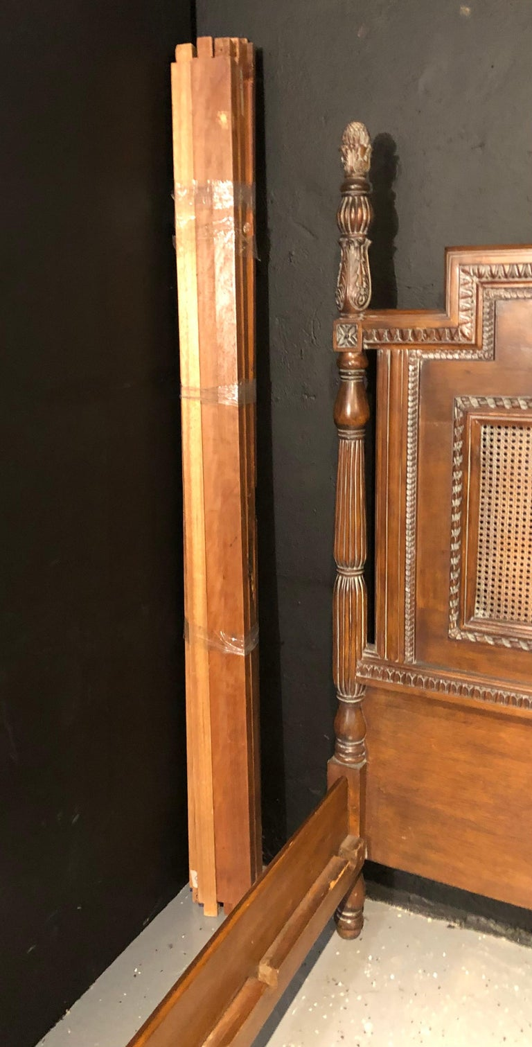Antique Walnut Carved King Sized Bed, Headboard, Foot-Board and Side-Rails 6