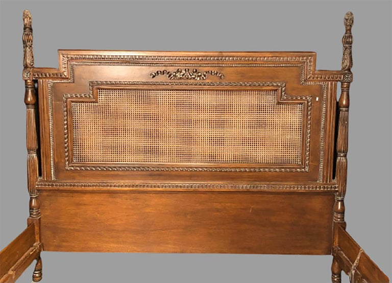 Louis XVI Antique Walnut Carved King Sized Bed, Headboard, Foot-Board and Side-Rails